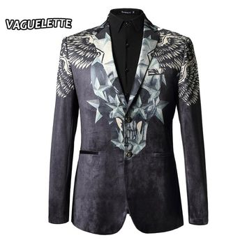 Luxury Brand Men Blazer Slim Fit Velvet 3D Print Skull Stars Men Blazer M-3XL