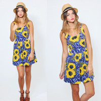 Vintage 80s SUNFLOWER Romper Yellow & Blue FLORAL Print Indie Mini Dress Hippie One Piece Playsuit