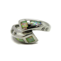 Fire Opal & CZ Ring, Vintage Sterling Silver Wrap Ring, Size 5.5
