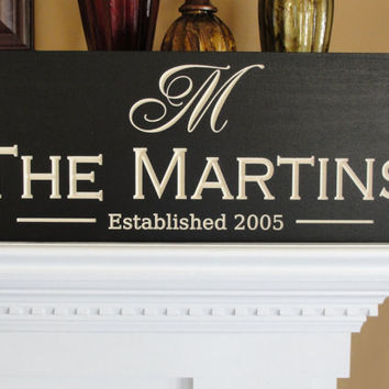 Personalized Engraved Family name signs by michaelswoodworks