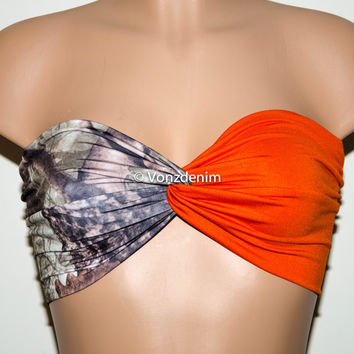 Camo and Orange Bandeau Top, Swimwear Bikini Top, Twisted Top Bathing Suits, Blaze Orange Spandex Bandeau Bikini