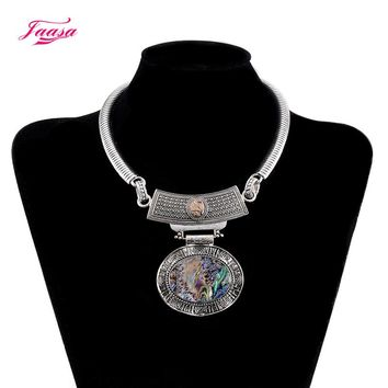 New Design romantic Style Jewelry Choker silver Plated Alloy  Statement shell Necklace For Women