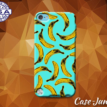 Banana Fruit Pattern Blue Pop Art Tumblr Inspired Cute Rubber Case For iPod Touch 4th Gen or iPod Touch 5th Generation or iPod Touch 6th Gen