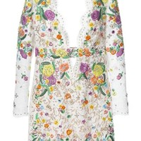 Emilio Pucci Floral Embroidery Embellished Lace Dress - Luisa World - Farfetch.com