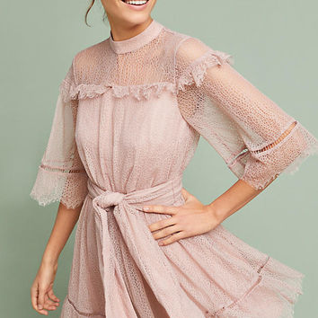 Ruffled Lace Midi Dress