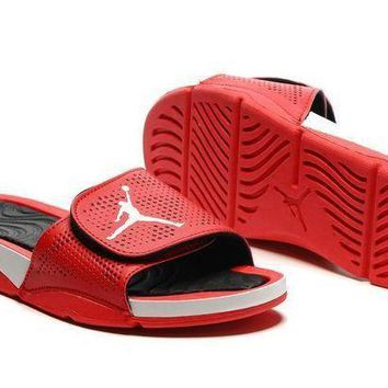 PEAPGE2 Beauty Ticks Nike Jordan Hydro V Retro Red/black Sandal Sandals Slipper Shoes Size Us 7-11