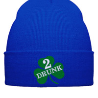 DRUNK 2 embroidery hat  - Beanie Cuffed Knit Cap