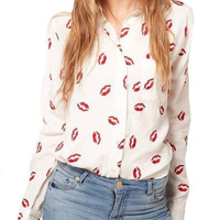 Red Lipstick Kisses Print Blouse Long Sleeve
