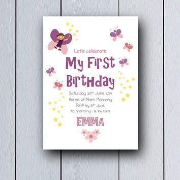 My first birthday invitation Baby Shower Fairy / printable pdf / party celebration girl invites Babyshower ideas children card princess