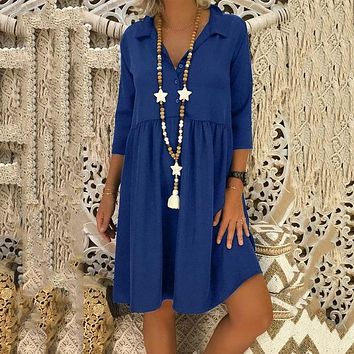 Summer Popular Women Casual Pure Color Simple Deep V Collar Loose Plus-Size Dress Blue