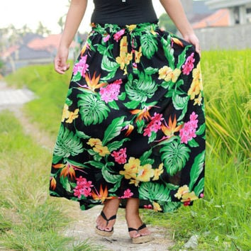 ON SALE 20% Summer Fashion Skirt / Floral Long Maxi Skirt  in Black, Yellow, Green, Pink with Sash Belt