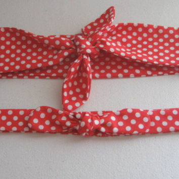 Fabric Hair Bandanas, Red Polka Dots, Mother and Daughter, Head Bands, Boho, Hippie, Chic, Bohemian, Bandana, RockaBilly HairBand, Women