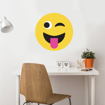 Emoji Wall Decal 2 ft Large Emoji Decal, Frowny Face, Smiley Face, Fabric Peel and Stick
