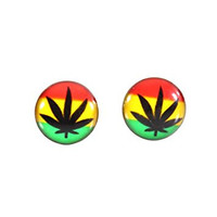 Rasta Pot Leaf Stud Earrings Silver Tone Red Gold Green Weed Marijuana Posts EF20 Fashion Jewelry