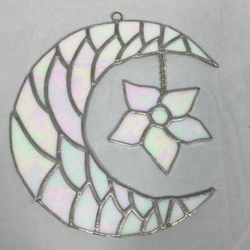 Half moon and flower wall art- Stained Glass