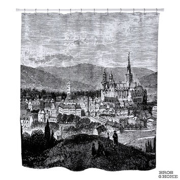 Normandy Shower Curtain | Printed Shower Curtain of Evreux in Normandy France