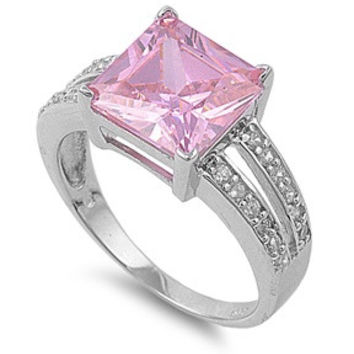 925 Sterling Silver CZ Princess Cut Center Pink Ring 11MM