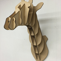 Large/ Small Wooden Giraffe Head Trophy Kit 3D Wall Art Kids - Laser Cut