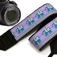 Lucky Elephants Camera Strap. Ethnic Camera Strap,  Accessories. Blue Camera Strap
