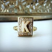 Locket Ring with Initial, Personalised Name Ring, Gold Ring, Alphabet Ring, Adjustable Ring, Gift for Her, Custom Made Small Locket Ring