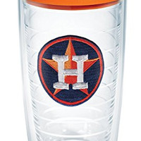 "Tervis 1088525 ""MLB Houston Astros"" Tumbler with Orange Lid, 16 oz, Clear"