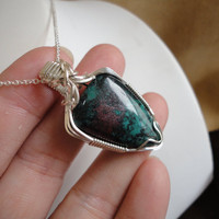 Sonora Sunrise Lapidary Pendant Sterling Silver Wire wrapped Necklace Sam Art Jewelry The Artisan Group