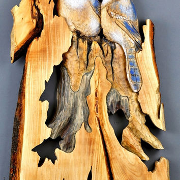 Aniversary Gift Blue Jays Woodcarving Hand Painted Decoration Unique Handmade Gift Wall Art Birds carved by Davydov Art