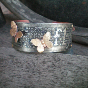etched butterfly cuff  etched metal jewelry by RescuedAngelsStudio