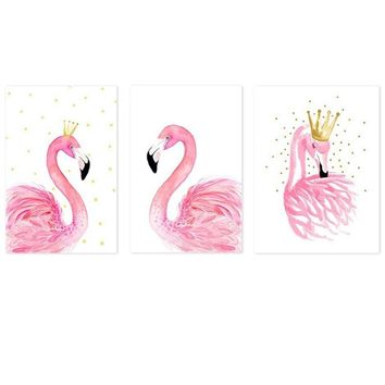 Nordic Swan Princess Girl Room Enfant Pink Poster Flamingo Kid Room Cartoon Wall Art Canvas Painting Posters And Prints Unframed
