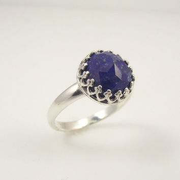 Victorian Sterling Silver Faceted Lapis Lazuli Ring, Ornate Silver Ring, Filigree Ring, Size 7