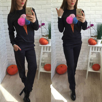 Autumn Sweatshirt Women Hoodie Puffer Ball Women Sweatshirts Print Ice Cream Hair Plush Ball Casual Tracksuit 2pcs Set LJ5422T