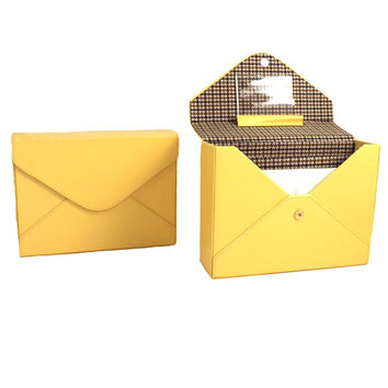 Yellow Leather Stationery Box with Envelopes, Stationery and Magnetic Snap.