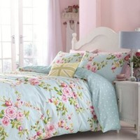 SUPERB COTTON FULL PINK BLUE ROSE FLORAL REVERSIBLE SHABBY DUVET COMFORTER COVER
