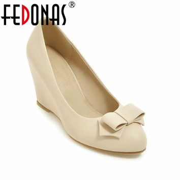 FEDONAS New Fashion Women Shoes Wedges Heel Pumps Women Cute Bowknot Shoes High Heels Women Wedding Shoes Nude Color Plus Size