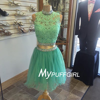 Mint Green Beaded High Neck Homecoming Dress , Cocktail Dress