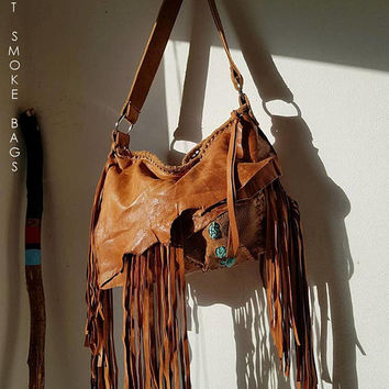 Tan brown dark camel leather fringed hobo turquoises bag fringe artistan purse bohemian african jungle raw leather festival free people