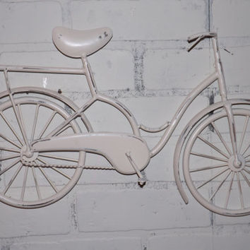 Bicycle Wall Art / OrangeWall Decor / Metal Bicycle / Metal Wall Decor / Shabby Chic Decor / Shabby Chic Decor