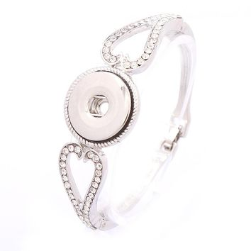 2017 New Vintage Open Ginger Snap Buttons Metal White K Bracelet&Bangles 18mm With 3 Snap Buttons Choker DIY Charms Jewelry