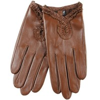 WARMEN Sexy Women's Genuine Nappa Leather Wrist Driving Unlined Gloves (M, Tan)