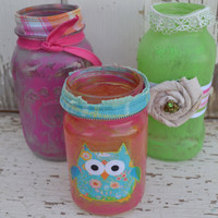 Mason Jars set of 3 Upcycled pink blue vase bathroom decor dorm room decor