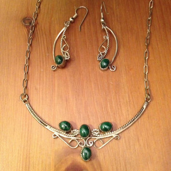 Jade Silver Earrings Necklace Set - Antique Jade Gemstones Necklace 18in Chain One of a Kind Vintage
