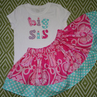 Big Sis Outfit - includes Applique Big Sister Shirt and Matching Twirl Skirt - Announce your pregnancy- visit new sibling at the hospital