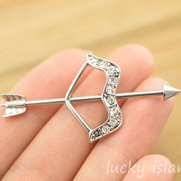 arrow earring,industrial barbell,bow and arrow industrial barbell,friendship ear piercing,earring,bff gift