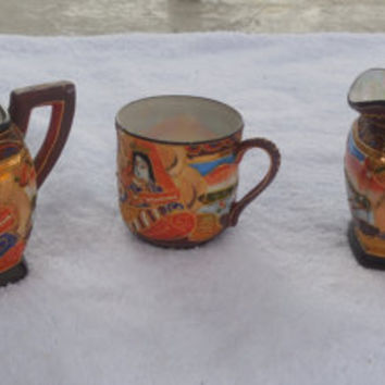 Sugar and Creamer Set With Tea Cup Made in Japan Hand Painted 1960s