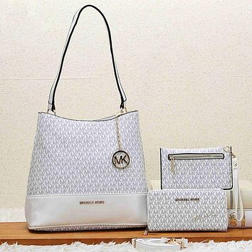 Michael Kors MK Women Fashion Leather Tote Satchel Shoulder Bag Set Three Piece