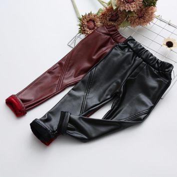 Children's Clothing Leather Pants Pu Trousers For Girls Boot Pants Girl Long Velvet Leggings Girl Kids Clothes Pants Baby Outfit