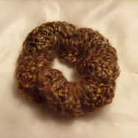 Crochet Brown Hair Scrunchie or Candle Decoration