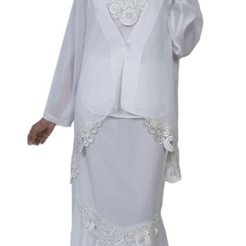 Hosanna 3967  - Plus Size Tea Length Off White Dress 3 Piece Jacket Lace/Embroidery