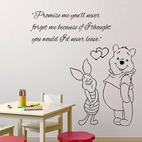 Wall Decals Quote Promise me you'll never Decal Piglet Winnie the Pooh Vinyl Sticker Family Bedroom Nursery Baby Room Home Decor Ms327