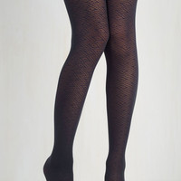 Film Noir Pointelle a Story Tights in Navy Size OS by ModCloth